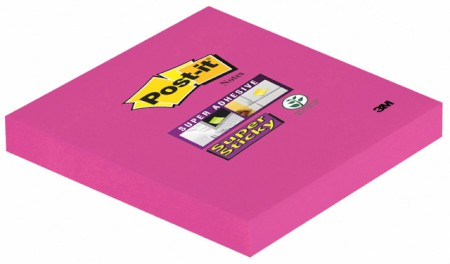 Haftnotiz Super Sticky Notes, 76 x 76 mm, ultrapink, PEFC, 90 Blatt, 1 Block