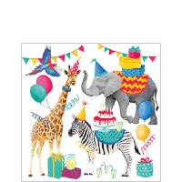 "Serviette ""Animal Birthday"" weiß 25 x 25 cm 20er Packung"